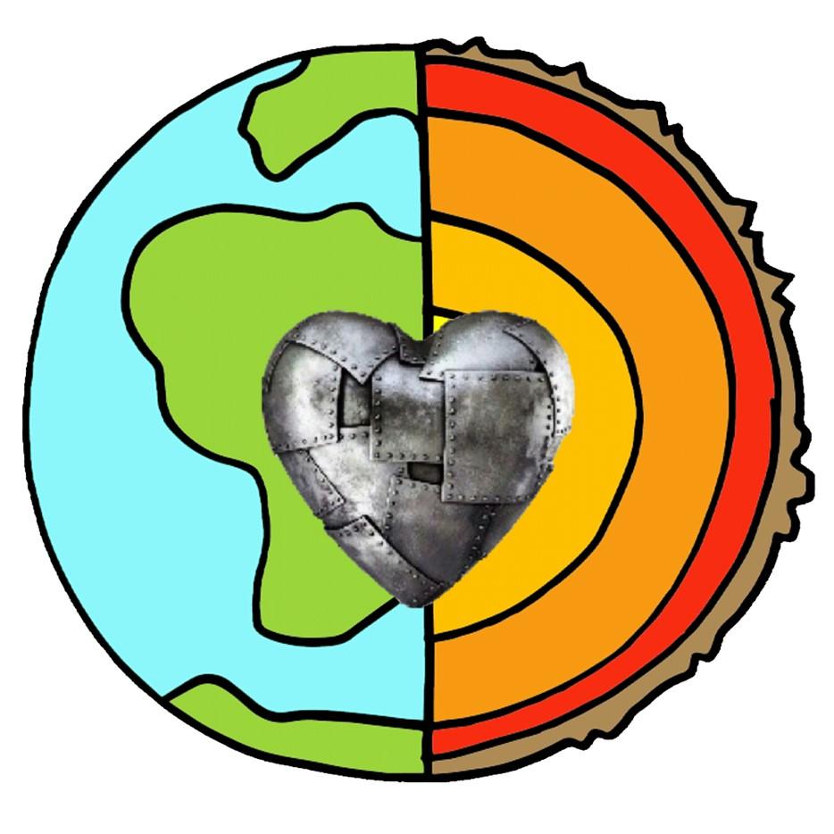Ilustración donde se observa la Tierra dividida a la mitad: a la derecha se observan los océanos y continentes, y a la derecha sus capas de la Tierra, en el centro se observa un corazón hecho de piezas de metal.