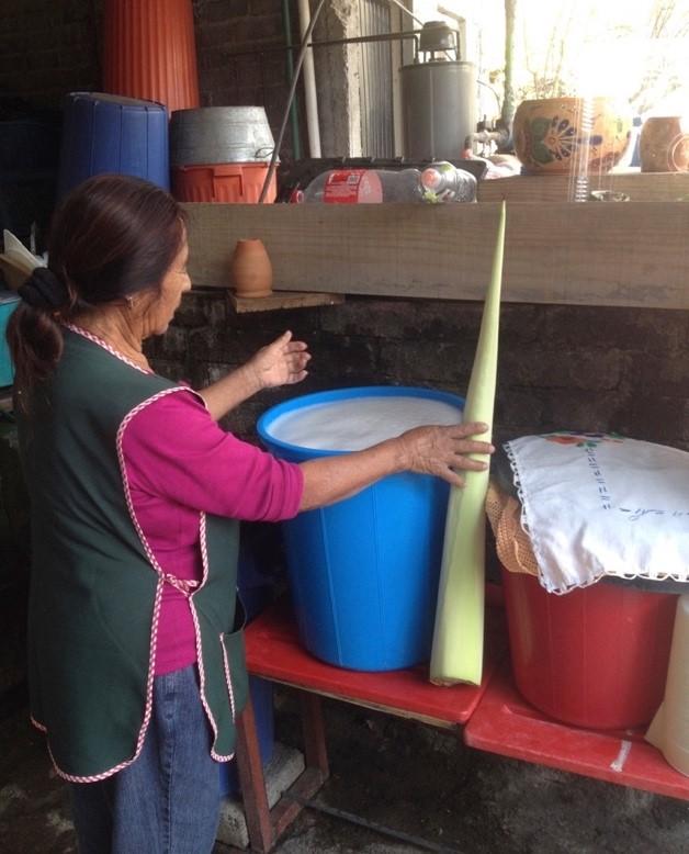 Foto de una mujer que prepara pulque con varias cubetas de