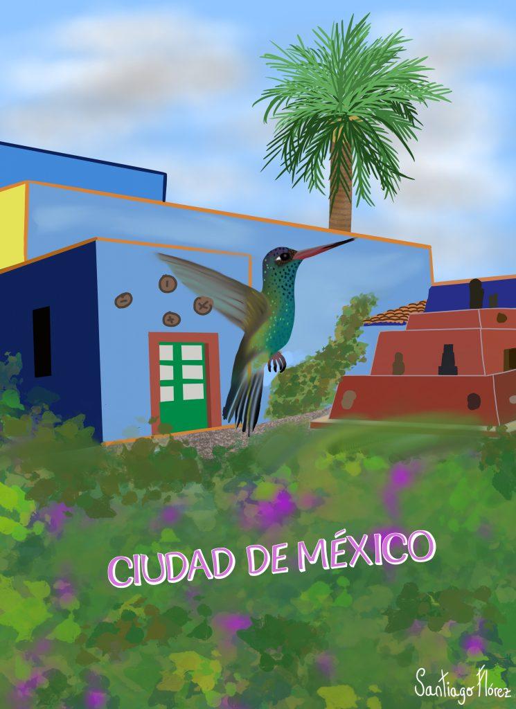 Ilustración de un colibrí pico ancho en Ciudad de México