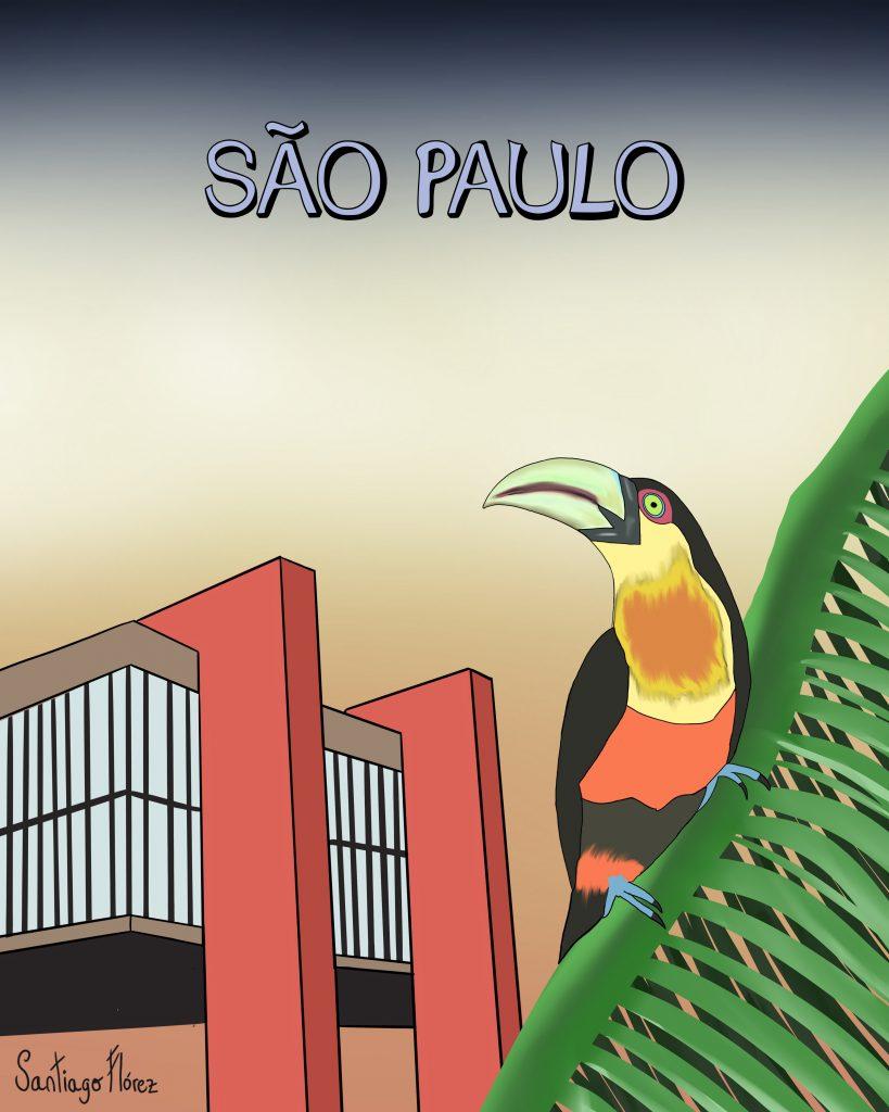 Ilustración de un tucán pico verde en São Paulo