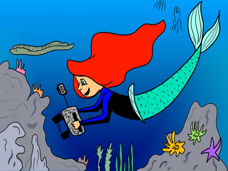 Ilustración de Ariel tomando fotos en un arrecife de coral.