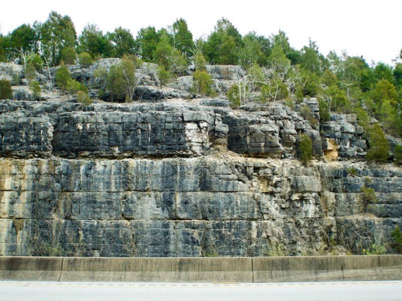 Un corte de carretera mostrando capas de la Caliza Camp Nelson