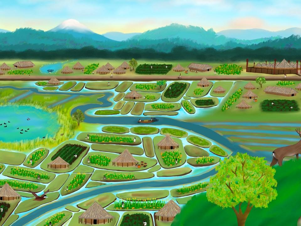 Ilustración describiendo la sabana de Bogotá viendo desde el Cerro Suba observando el territorio donde el río Bogotá fluye a través del paisaje.