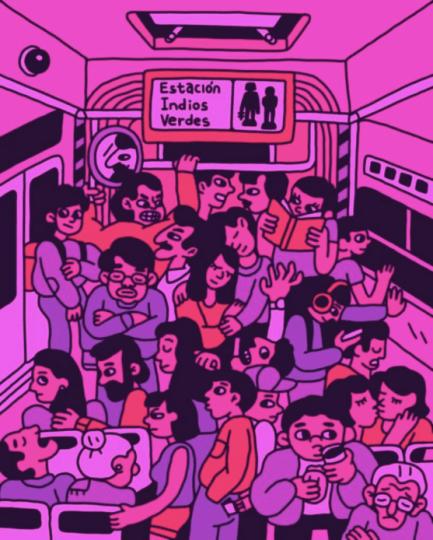 Ilustración de un vagón lleno del metro de la Ciudad de México