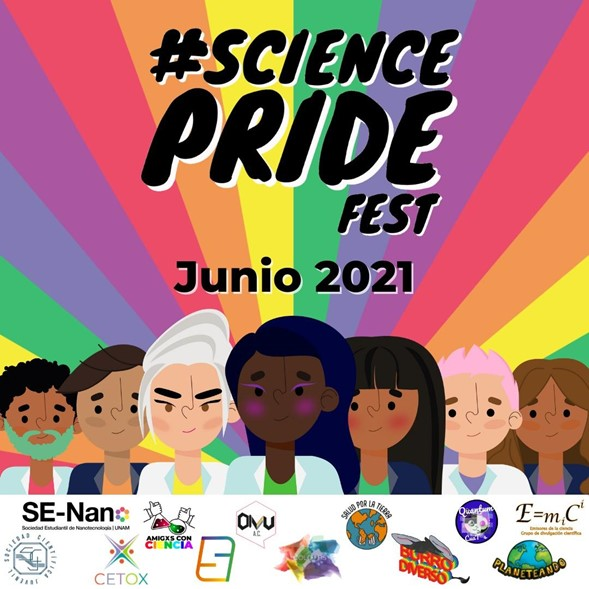 Cartel para el Science Pride Fest 2021 con fondo de arcoiris y diferentes científicos, científicas y científices al frente.