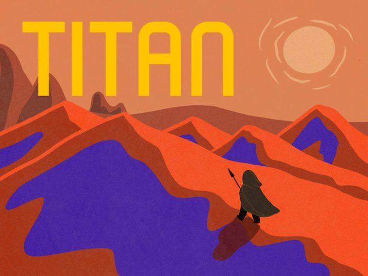 Una ilustración de un artista de Titán como su fuera una portada de libro